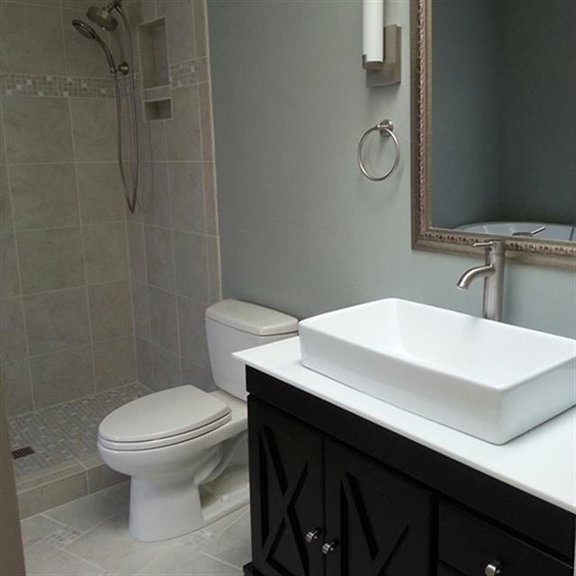 White and grey finished bathroom
