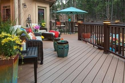 deck decorated with bright colored  decor