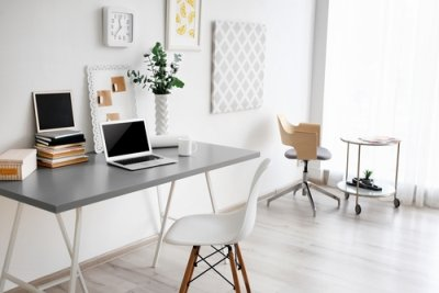 white home office space with minimal decor
